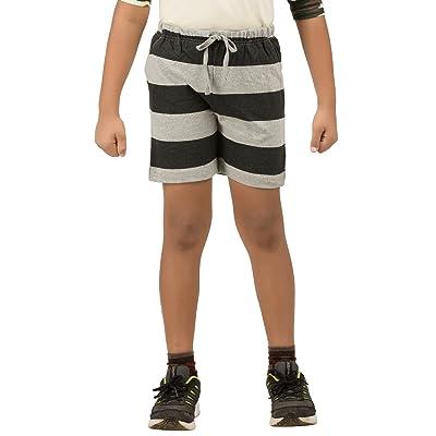 Clifton Boy's Branded Comfortable Ultra Soft Cotton Casual All Season Harizontal Bold Stripes Shorts -Grey Melange-Black