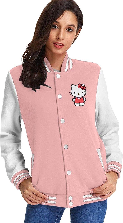 Hello Kitty Ladies Plus Fleece Fashion Baseball Uniform Jacket Sports Jacket.