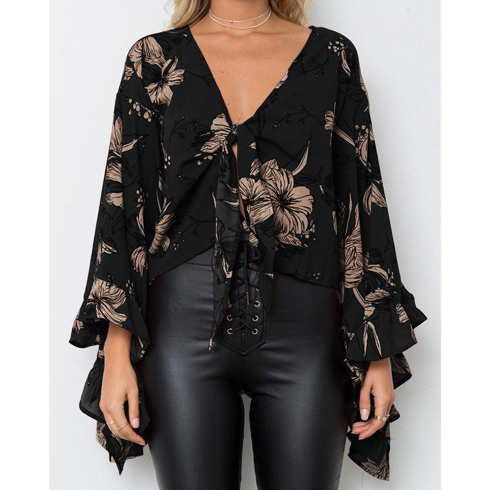 Hibote Mujer Blusas Tops con Volantes - Mujeres Camisas Cortas Blusa con Cordones V Profundo Sexy Off Belly Top Suave Cómodo Moderno: Amazon.es: Ropa y ...