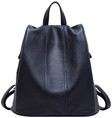 b072428190 Amazon.com  BOYATU Genuine Leather Backpack for Women Anti-theft Rucksack  Ladies Travel Bag(Black)  Shoes