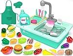 KIDPAR 38 Pcs Color Changing Kitchen Play Sink Toys for Kids,Toddler