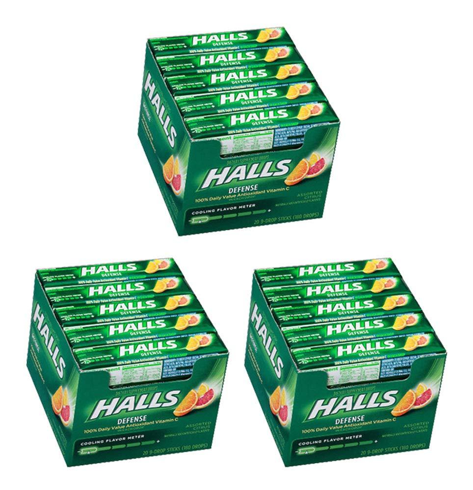 Halls Defense Assorted Citrus Vitamin C Supplement Immune Boost (60 Sticks x 9)