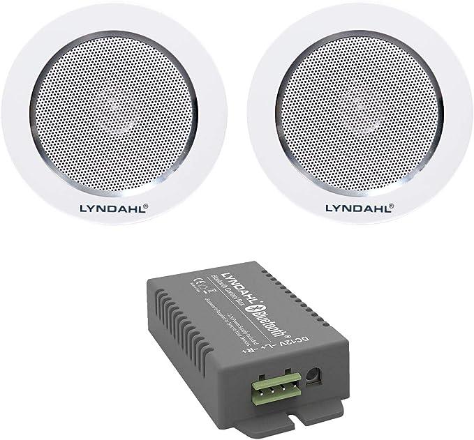 Lyndahl Juego de Altavoces, Amplificador Bluetooth de 4 Canales CS200BT-AMP y Altavoces de 2 vías CS120AL, con 2 o 4 Altavoces incorporados, Altavoces para Montaje en Techo con 2 Altavoces
