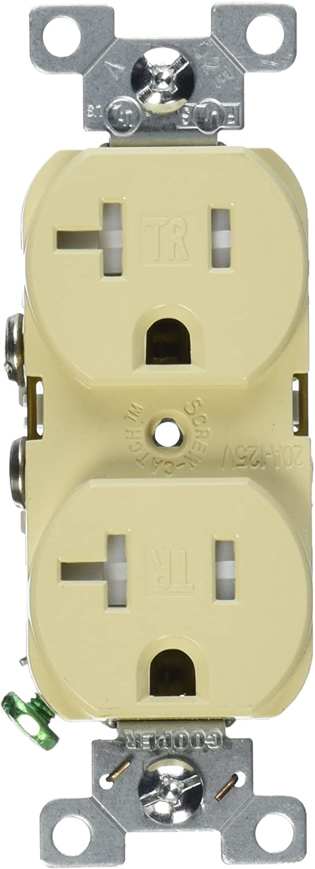 EATON TRBR20V-BXSP Arrow Hart Tamper Resistant Duplex Receptacle, 125 V, 20 A, 2 Pole, 3 Wire, Ivory