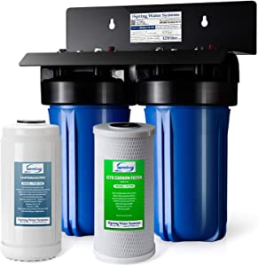 """iSpring WGB21B-PB 2-Stage Whole House Water Filtration System w/ 10"""" x 4.5"""" Big Blue Carbon Block FC15B and Lead Reducing Filter FCRC15B, 1"""" Inlet/Outlet Ports"""