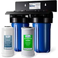 "iSpring WGB21B-PB 2-Stage Whole House Water Filtration System w/ 10"" x 4.5"" Big Blue Carbon Block FC15B and Lead Reducing Filter FCRC15B, 1"" Inlet/Outlet Ports"