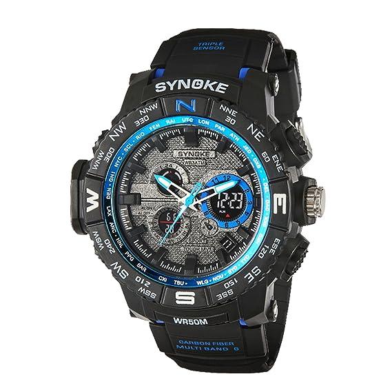 amstt Hombre analógico digital Deporte Reloj de pulsera Dual Time Display LED Iluminación Cronómetro Outdoor Reloj