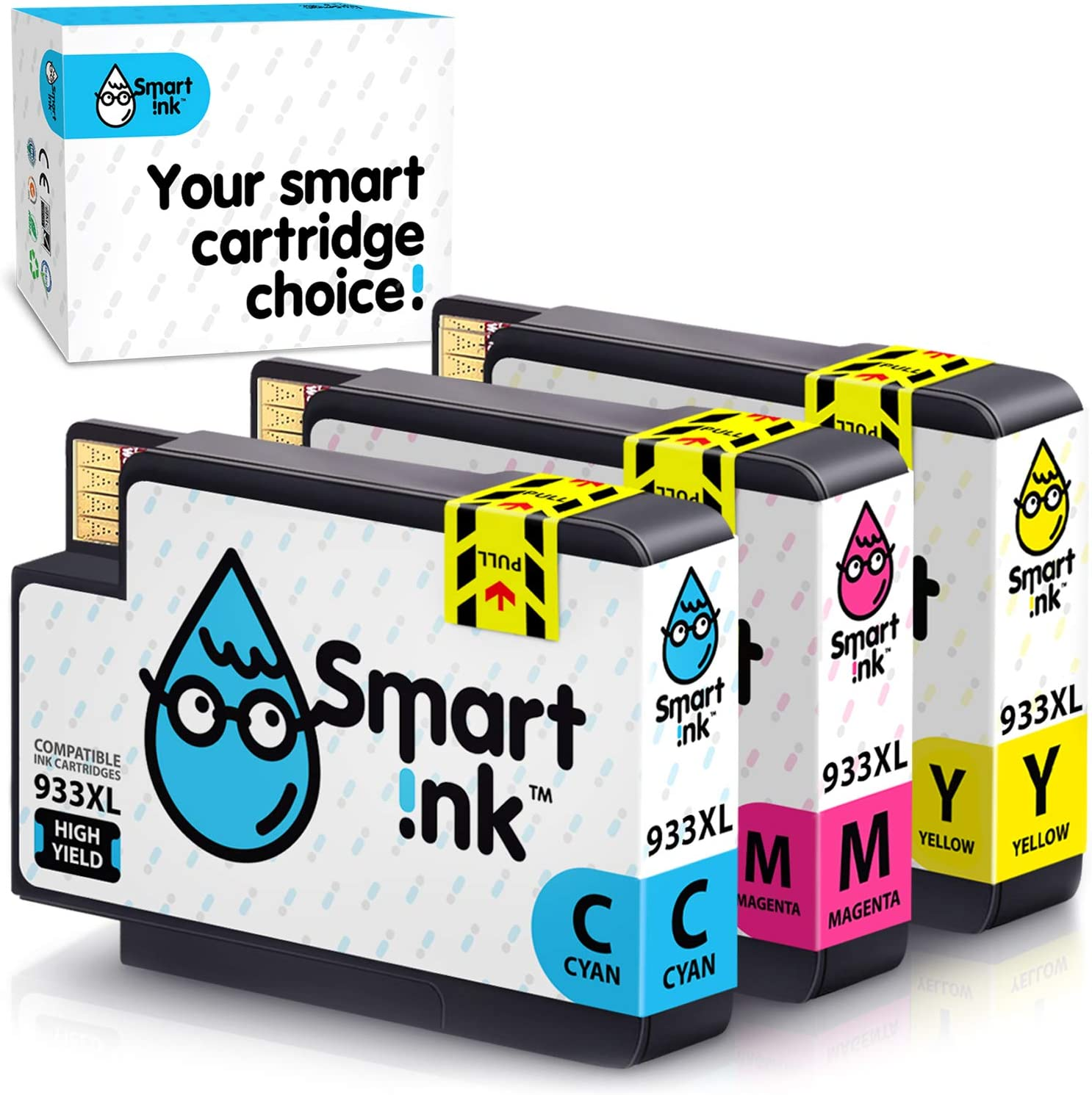 Smart Ink Compatible Ink Cartridge Replacement for HP 932XL 933XL 932 XL 933 High Yield Set (Cyan,Magenta,Yellow, 3 Combo Pack) to use with Officejet 6100 6600 6700 7110 7510 7610 7612 7620