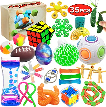 Scientoy Fidget Toy Set, 35 Pcs Sensory Toy for ADD, OCD, Autistic Children, Adults, Anxiety Autism to Stress Relief and Anti Anxiety with Motion Timer, Perfect for Classroom Reward with Gift Box