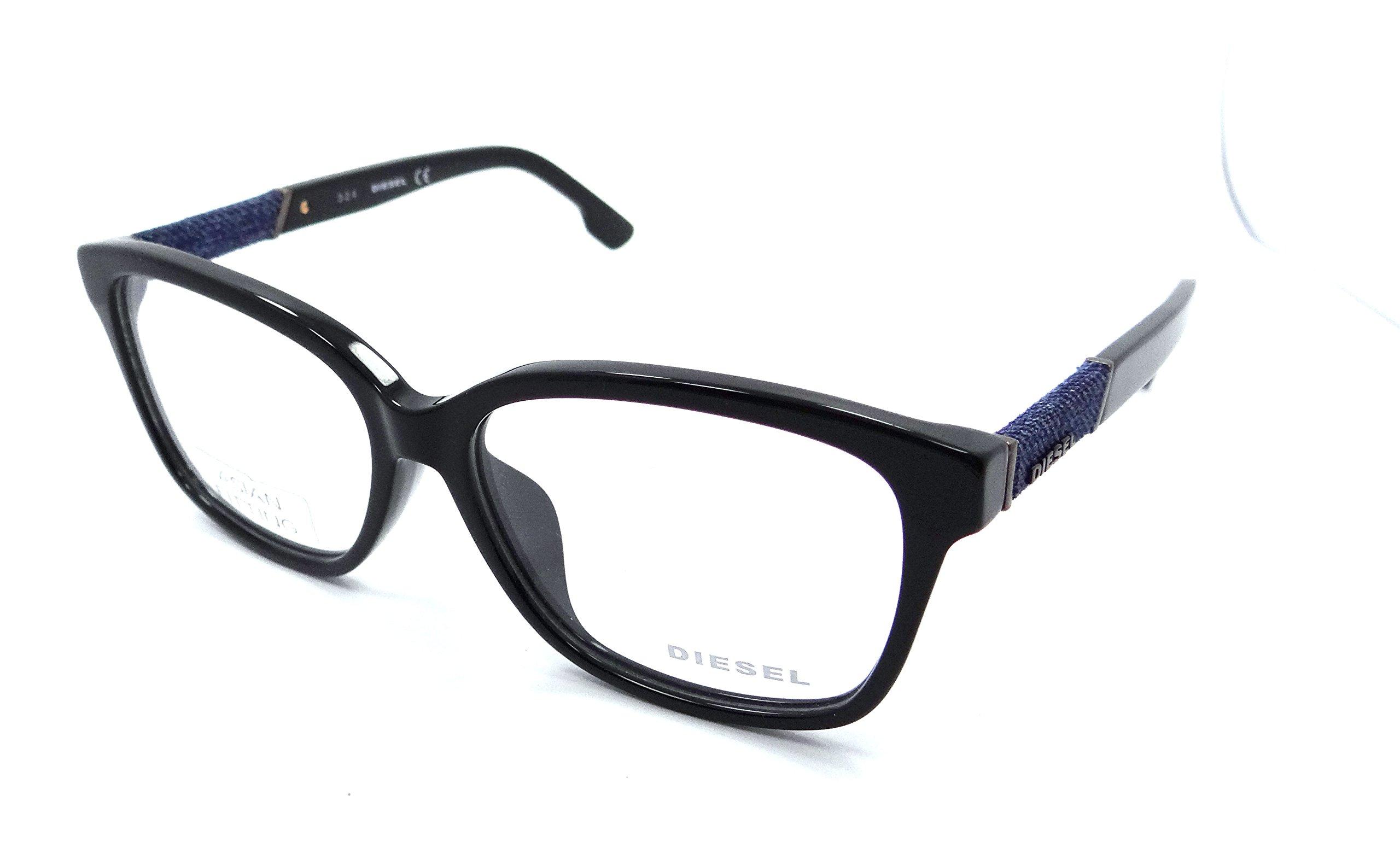 Diesel Rx Eyeglasses Frames DL5108-F 001 57-15-145 Shiny Black Asian Fit