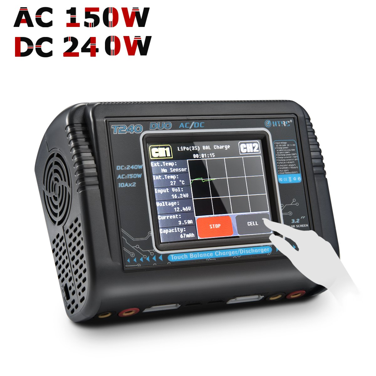Ahorre hasta un 70% de descuento. HTRC HTRC HTRC T240 Duo RC Balance Charger Discharger for Lilon LiPo Life LiHV NiCd NiMH PB Smart Battery  soporte minorista mayorista