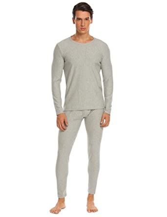 92cd29937dea Ekouaer Mens Long Johns Cotton Thermal Underwear Fleece Lined Base Layer  Winter Set (Grey,