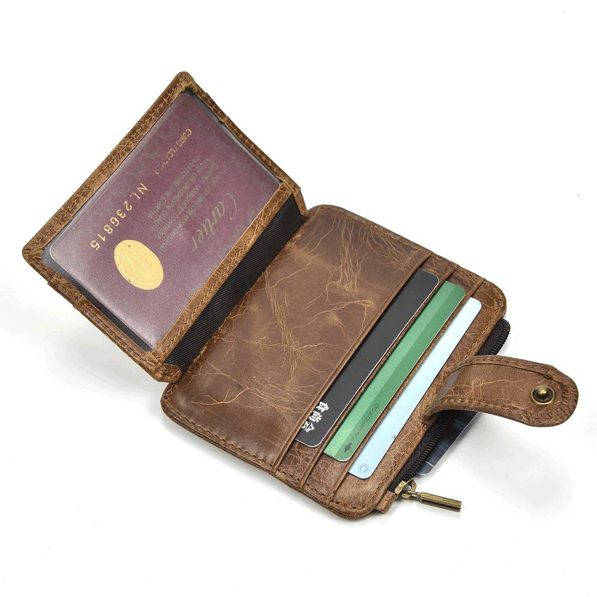 Titular de la Tarjeta de crédito del imán del Clip del Dinero del Cuero Genuino Cartera Delantera del Bolsillo del práctico Delgado (Marrón): Amazon.es: ...