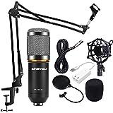 ZINGYOU Condenser Microphone Kit, BM-800 Mic Set with Adjustable Mic Suspension Scissor Arm, Metal Shock Mount and Double-layer Pop Filter for Studio Recording & Brocasting (Microphone Bundle)