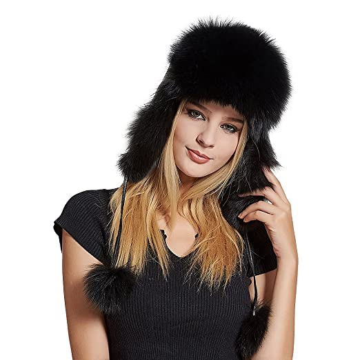 Fur Story Women s Trapper Hat with Sheep Leather Earmuffs Warm Winter Fur  Hat (Black) 45e3c35de9ab