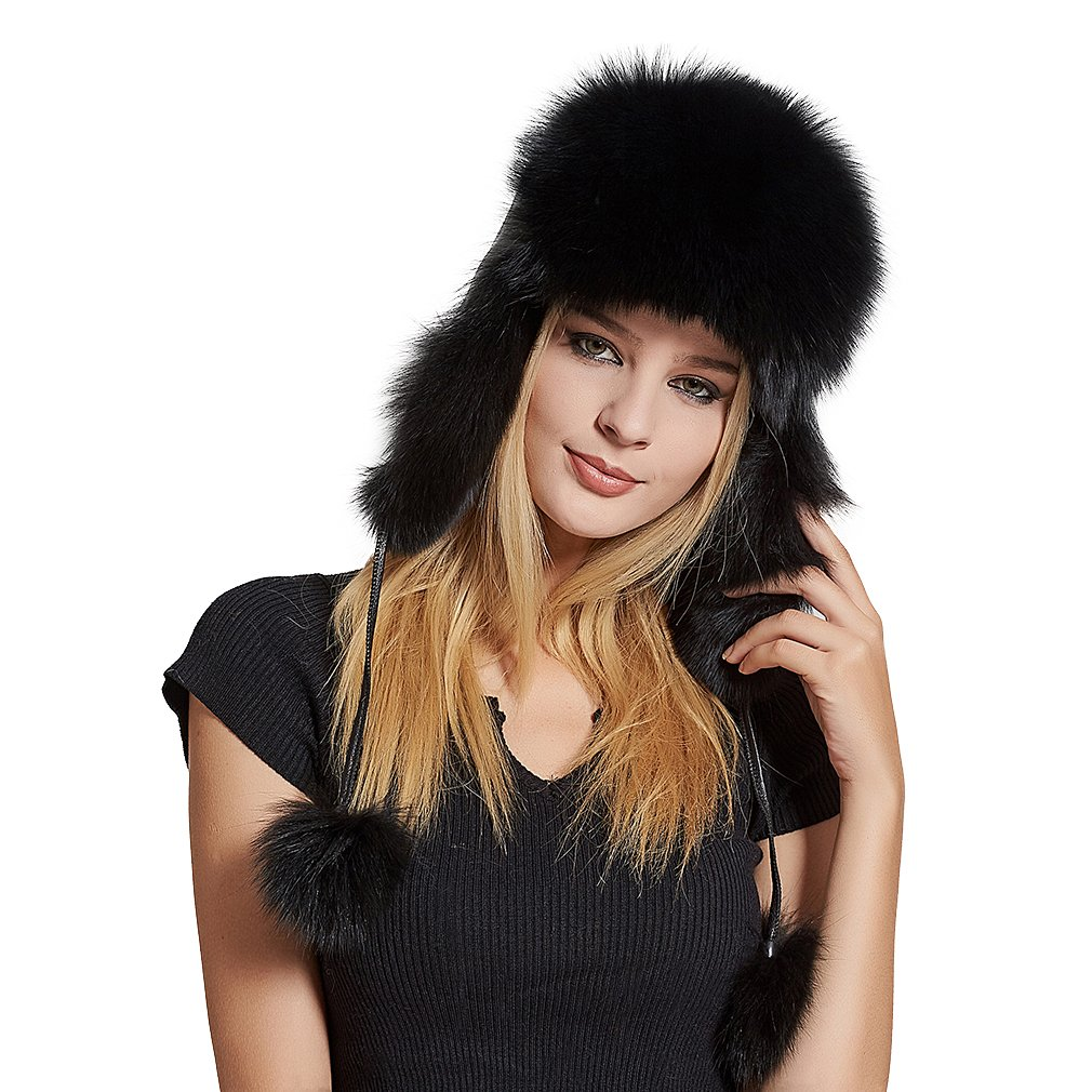Fur Story Women's Trapper Hat with Sheep Leather Earmuffs Warm Winter Fur Hat (Black)