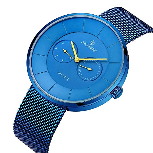 68dac95bbc Watch Men Stainless Steel Simple Fashion Watch With Milanese Mesh Band,Blue Casual  Stylish Waterproof