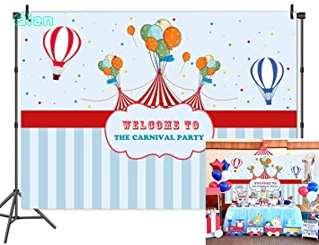 Qian 7x5ft Vinyl Circus Carnival Theme Photography Backdrops Light Blue Stripe Carnival Birthday Party Photo Booth Background Hot Air Balloon Studio