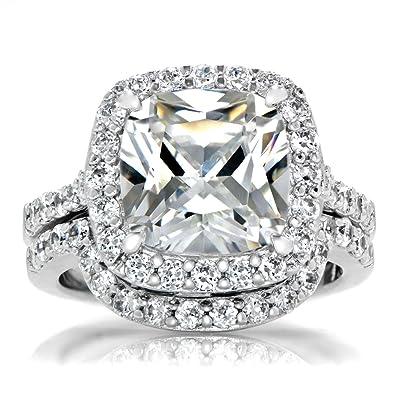 cushion cut cz halo wedding ring set 10mm