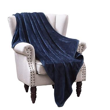 Exclusivo Mezcla Large Flannel Velvet Plush Throw Blanket – 50  x 70  (Navy Blue)