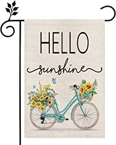 CROWNED BEAUTY Summer Garden Flag Hello Sunshine Bicycle 12×18 Inch Double Sided Vertical Yard Outdoor Decoration CF188-12