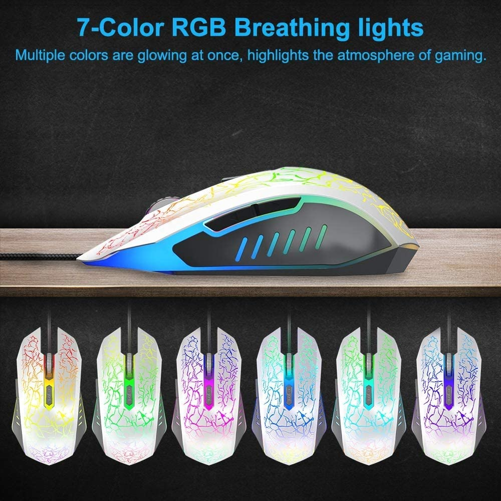White Ergonomic Wired Gaming Mice 4 Level DPI 800//1200//1600//2400 7 Colors RGB LED Breathing Light for Laptop PC Notebook Computer Games /& Work DEI QI Gaming Mouse