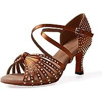Naudamp Zapatos Baile Latinos Mujer Diamante de Imitación