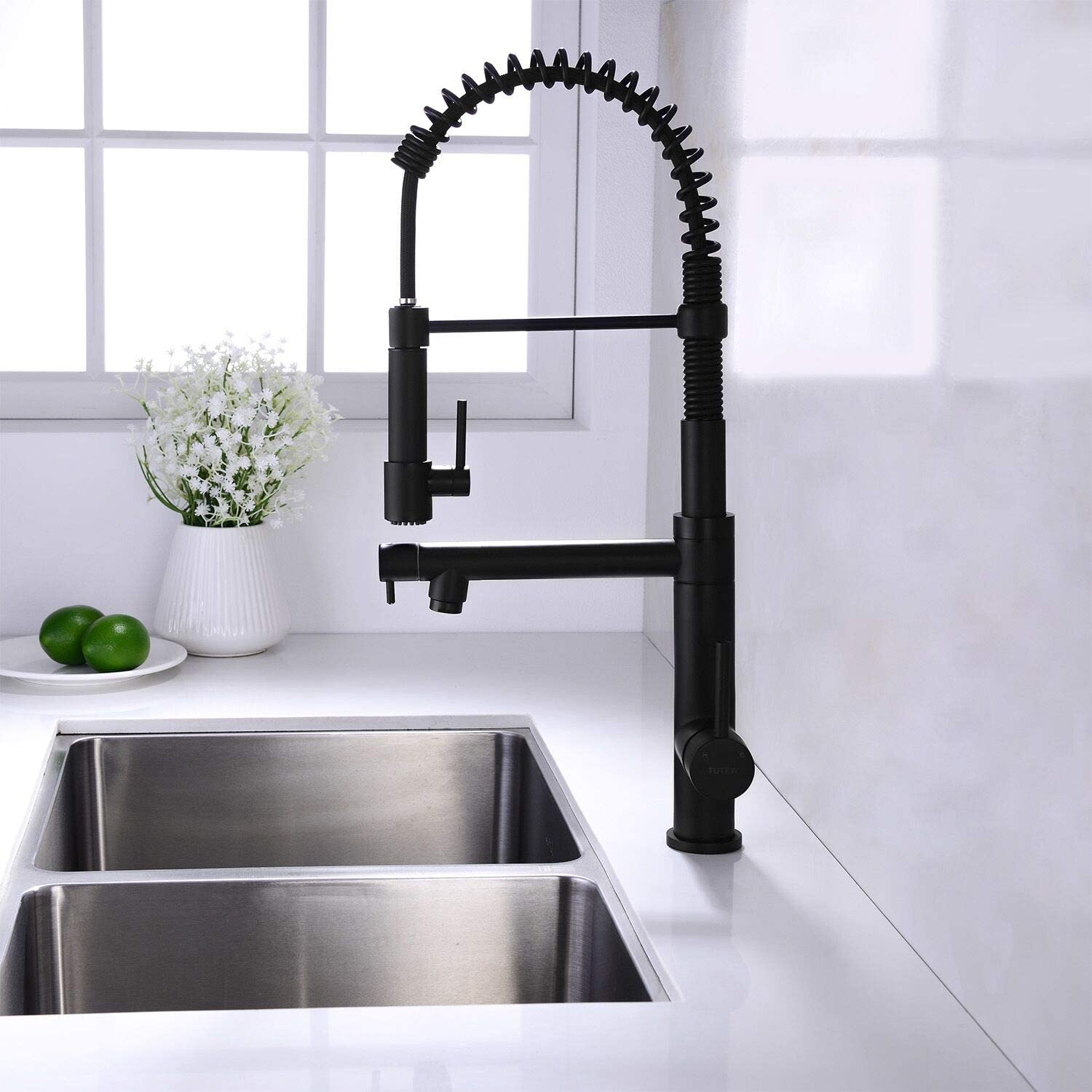 Tutew Kitchen Faucet Spring Kitchen Sink Faucet High Arc Kitchen Faucet With Sprayer Bass Pull Down Kitchen Faucet Black Kitchen Faucet Amazon Com