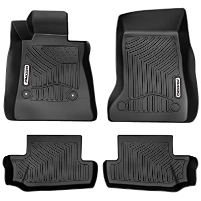 oEdRo Floor Mats Compatible for 2016-2020 Chevrolet Camaro, Unique Black TPE All-Weather Guard Includes 1st and 2nd Row: Front, Rear, Full Set Liners: Automotive