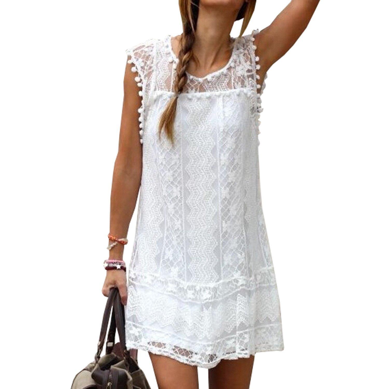 Minetom 30% Off Fashion Damen Sommerkleid kurz Ärmellos Rock Damen Sommerkleid Minikleider Rundhals Ausschnitt ärmellos Hohl stückeln Spitze Frauen Blusen Weiß