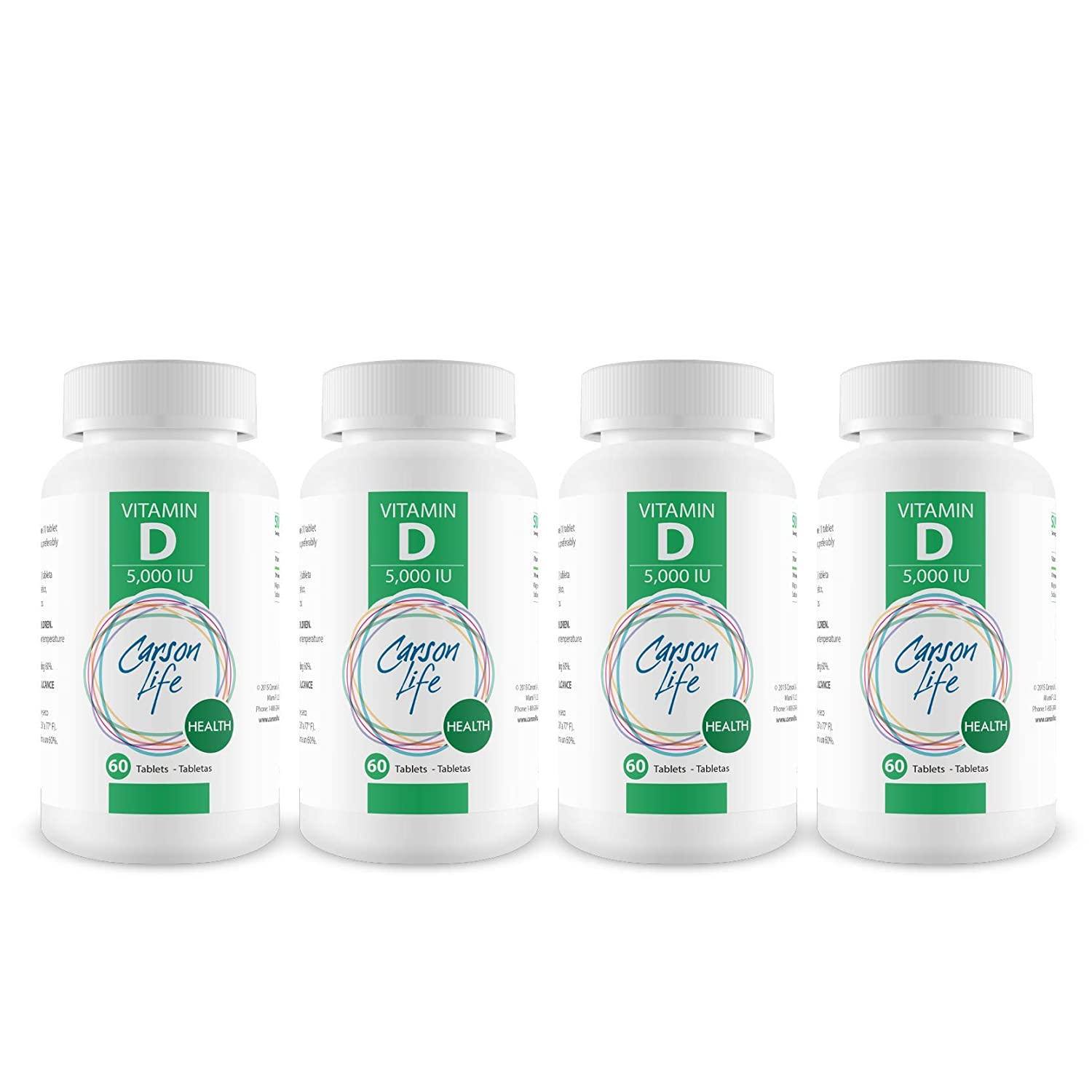 CARSON LIFE Vitamin D 5000 IU Tablets - 4 Pack, 60 Tablets Each - for Stronger Muscles, Bones, Teeth and a Healthier Immune System - Made in The USA
