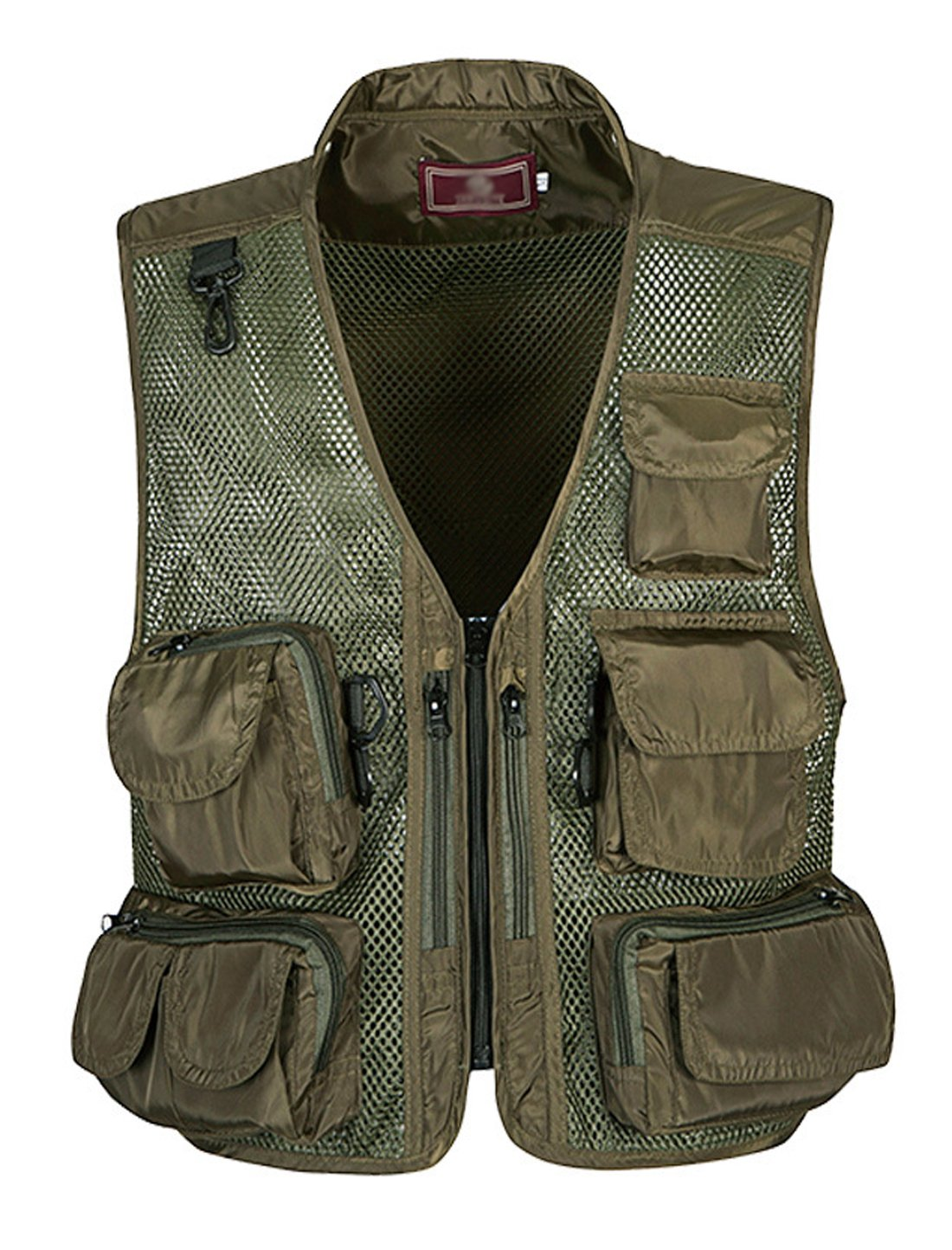 Gihuo Men's Outdoors Utility Hunting Travels Tactical Mesh Removable Vest Multiple Pockets (X-L, Army Green)