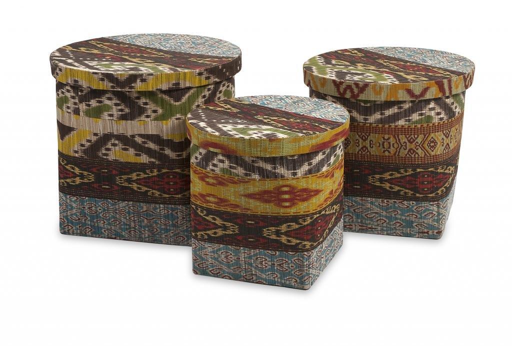 Decoratively Enchanting Tymon Waterhyacinth Baskets w/ Lids - Set of 3 Home Boxes/Baskets/Storage Décor