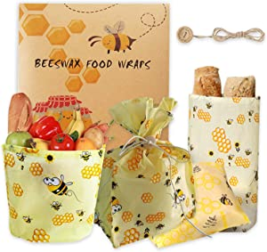 Beeswax Reusable Food Wrap Bag Sustainable Food Bags Eco friendly Bag Alternative for Food Storage Sandwich Wrap Bags with Button and Lanyard (Bees Large)