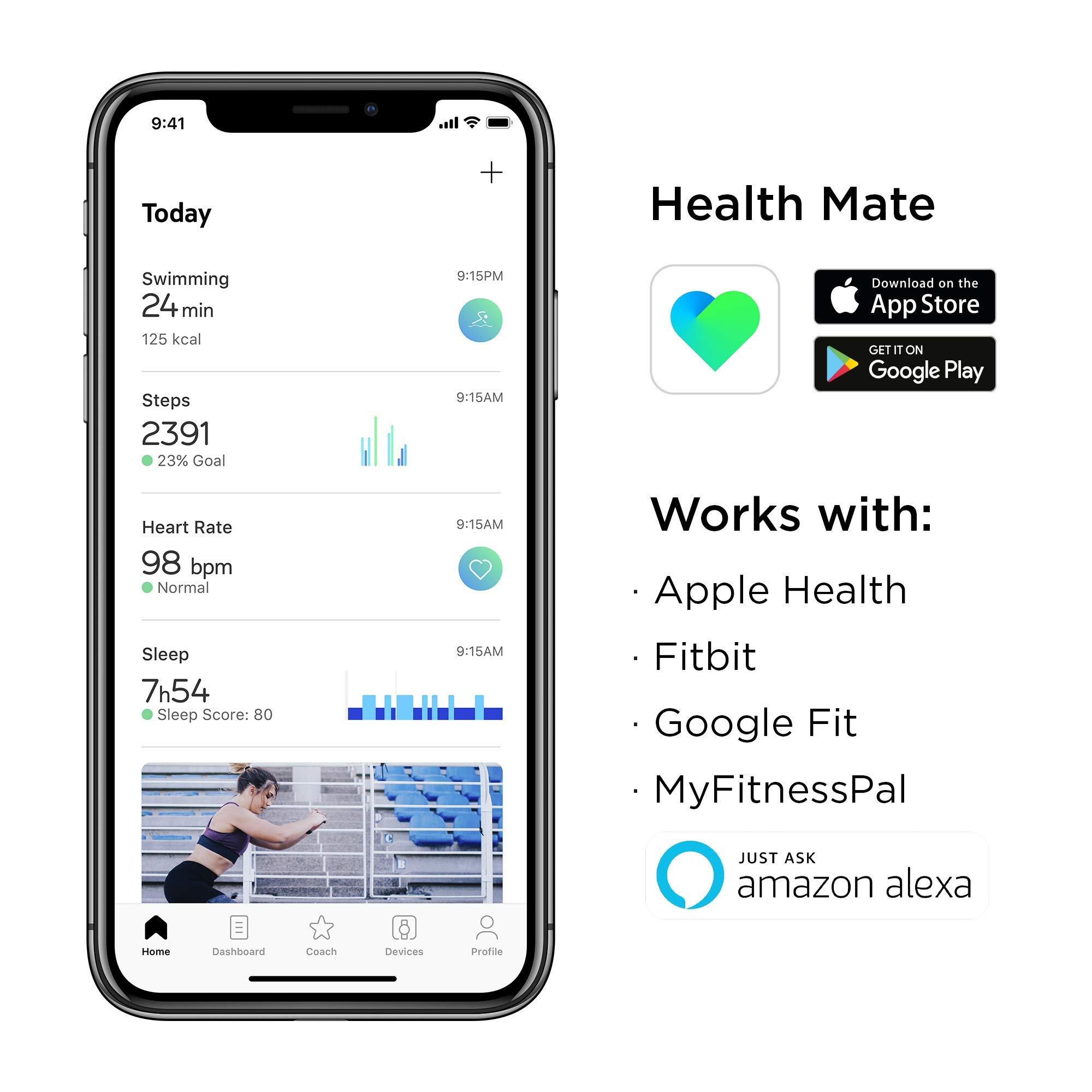 Withings / Nokia | Steel HR Hybrid Smartwatch - Activity Tracker with Connected GPS, Heart Rate Monitor, Sleep Monitor, Water Resistant Smart Watch with 25-day battery life (Renewed) by Withings (Image #2)