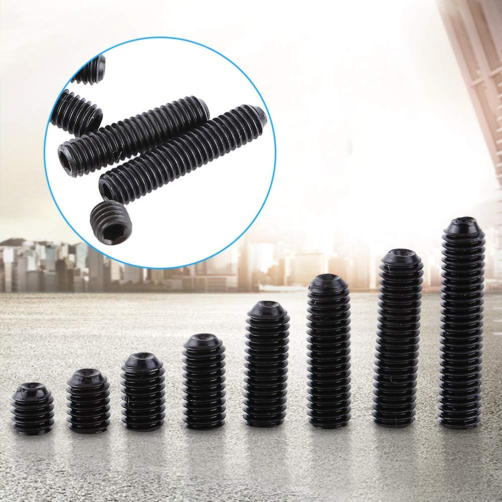 M3 Black Hex Socket Cap Head Screw Steel Socket Cup Point Grub Set Screw Assortment 200pcs