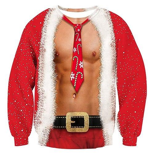 Rave on Friday Unisexo Navidad Sudaderas 3D Impresión Ugly Sweater Pulóver Hombre Tops Sweatshirt S-