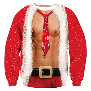 6ca137cecf6 RAISEVERN Mens Ugly Christmas Sweater Funny Muscle Design Fake 2 Pieces  Pullover Sweatshirt Red 1 2017