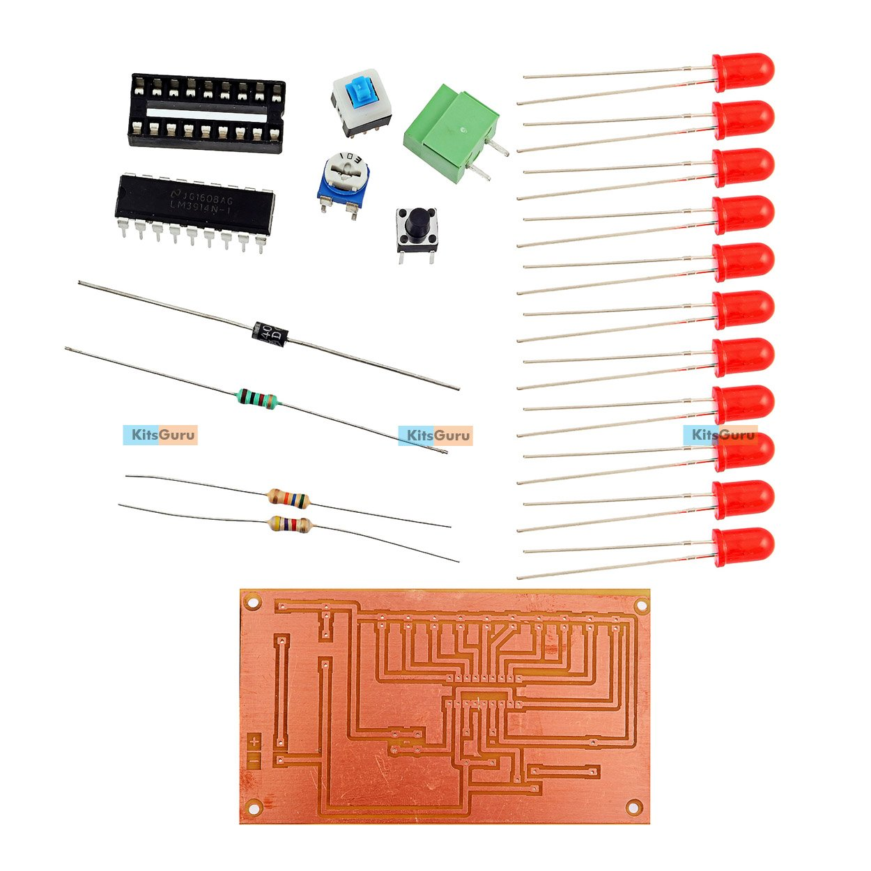 Kitsguru Diy Kit Basic Electronic Circuits Battery Level Indicator Ic Lm3914 Pin Diagram