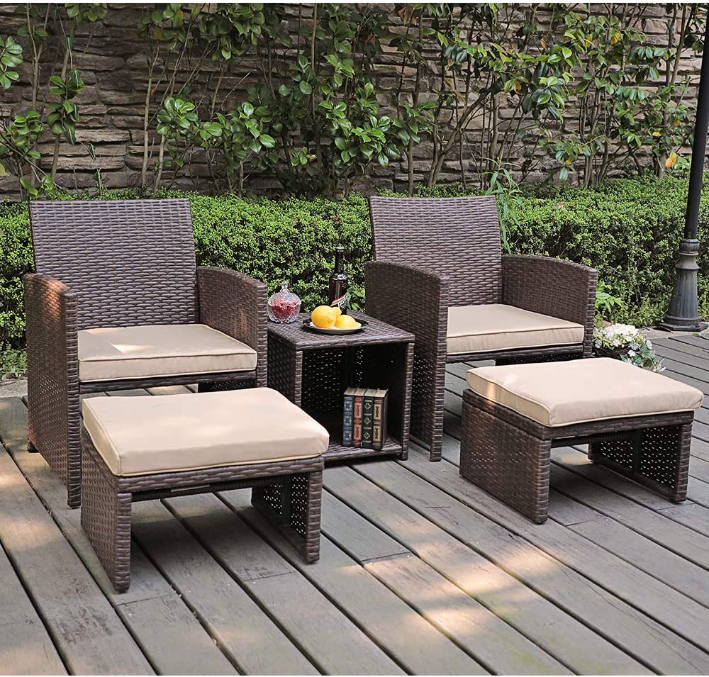 OC Orange-Casual 5 Pcs Patio Conversation Set Outdoor Furniture Set with Beige Cushions, Ottomans and Storage Table for Backyard, Garden, Porch Brown