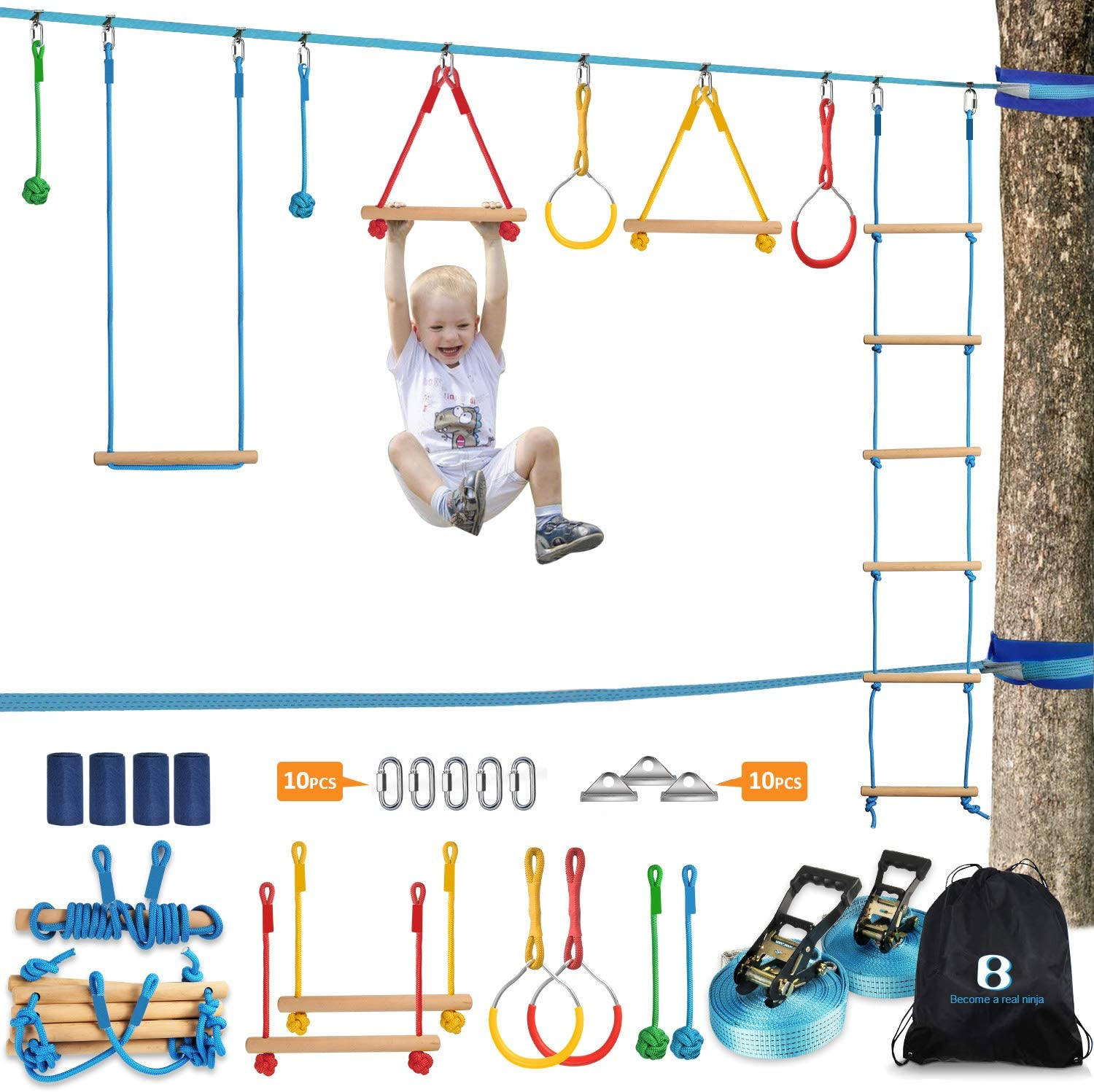 Ninja Warrior Obstacle Course Kit for Kids 37 PCS 52' Ninja Line Slackline Hanging Monkey Bars Fists Gymnastic Rings Swing Rope Ladder Portable Outdoor Ninja Course Training Equipment Set for Backyard