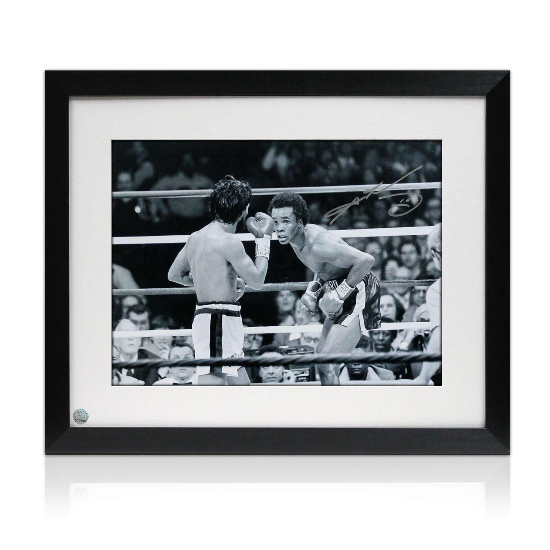 Exclusive Memorabilia Boxfoto von Sugar Ray Leonard unterzeichnet: Kampf gegen Roberto Duran. Gerahmt