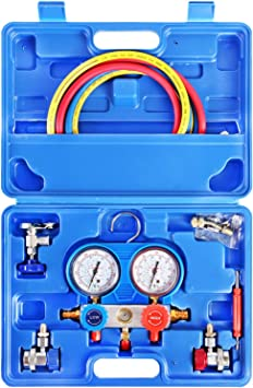 5FT Hose, Can Tap, Blue Case JIFETOR 3 Way AC Manifold Gauge Set HVAC Diagnostic Freon Charging Tool for Auto Household R12 R22 R404A R134A Refrigerant Quick Couplers Acme Adapter Valve Core Tool