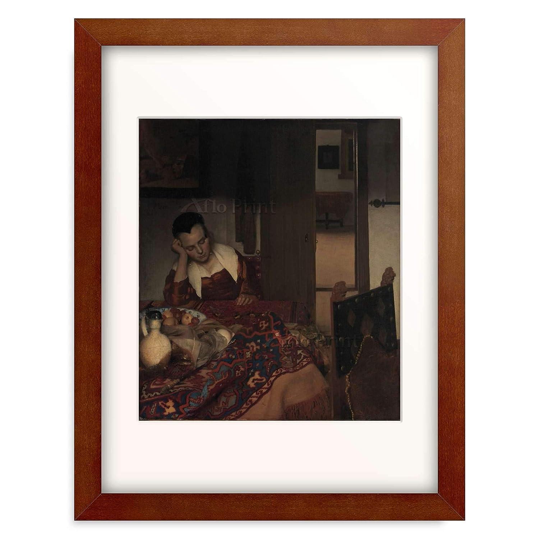 ヨハネスフェルメール Johannes Vermeer 「A Maid Asleep, ca. 1656–1657」 額装アート作品 B07PGLVJ2W S(額内寸 255mm×203mm)|05.木製額 22mm(ブラウン) 05.木製額 22mm(ブラウン) S(額内寸 255mm×203mm)