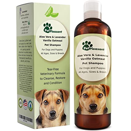 Vanilla Oatmeal Dog Shampoo with Aloe Vera - Colloidal Oatmeal Shampoo for Dogs & Puppies -