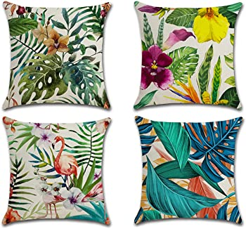 4-Pieces HOTM Throw Flamingo and Tropical Flowers Pattern Pillow Covers