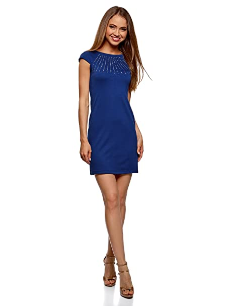 oodji Ultra Mujer Vestido Ajustado con Pedrería, Azul, ES 34 / XXS