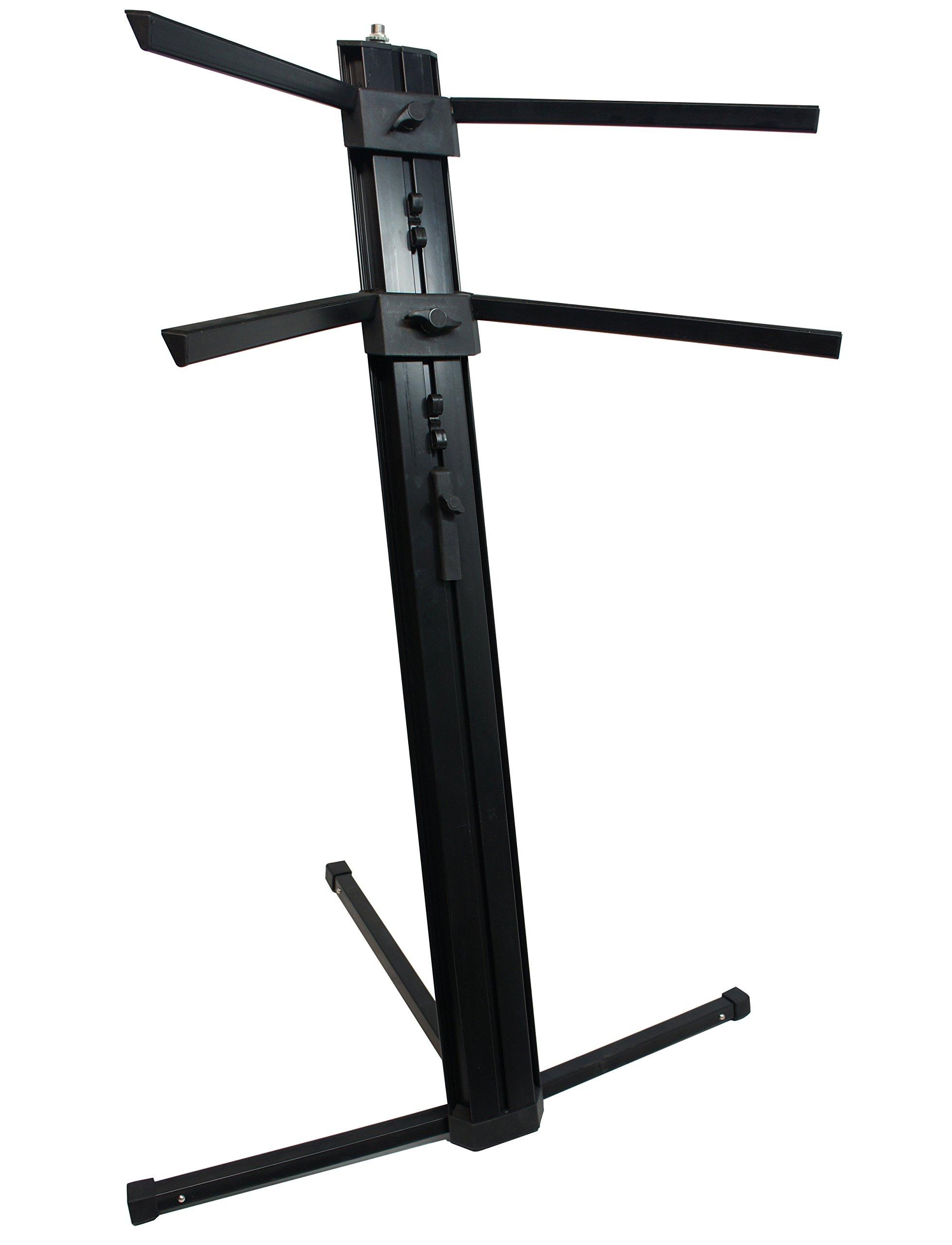 Harmony Audio HA-KEYSTAND Professional 2-Tier Column Keyboard Stand with 5/8'' Mic Mount