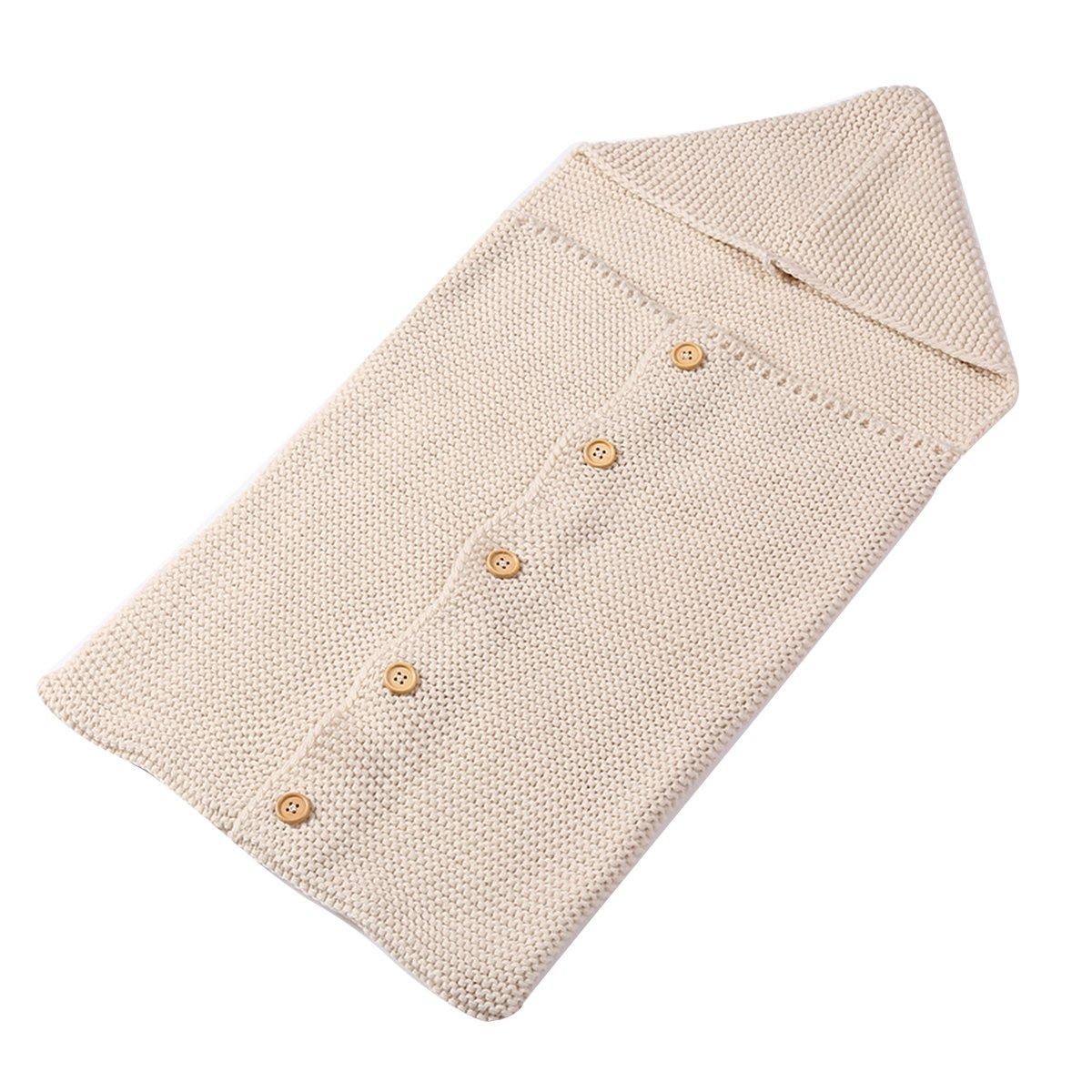 Puseky Newborn Infant Baby Knit Wool Winter Sleep Sack Swaddle Blanket Wrap Sleeping Bag (Black) 561465465