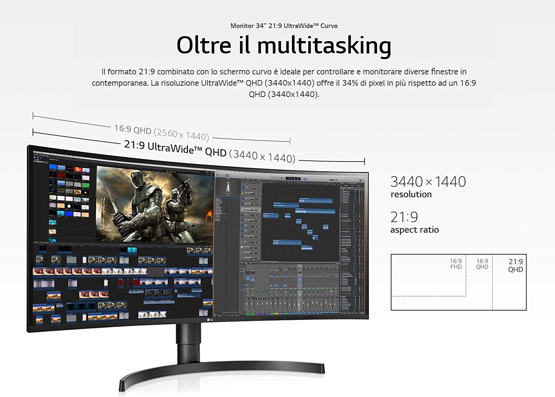 LG 34WL75C-B - Monitor Curvo de 86,36 cm (34 Pulgadas) 21:9 UltraWideTM QHD IPS (AMD Radeon FreeSync, HDR 10, Das Mode, Maxxaudio), Color Negro: Amazon.es: Informática